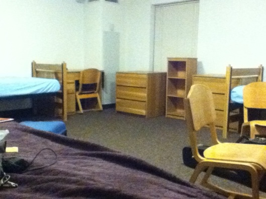 Dardick dorms have rocking chairs. You get a desk, a bookshelf, and a dresser. The dresser can fit under your bed.