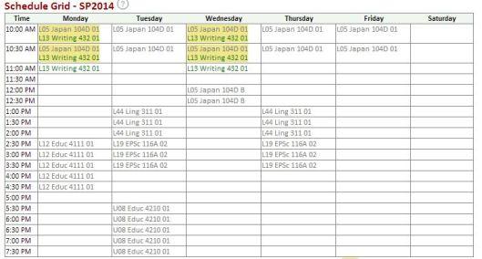 My Spring 2014 schedule